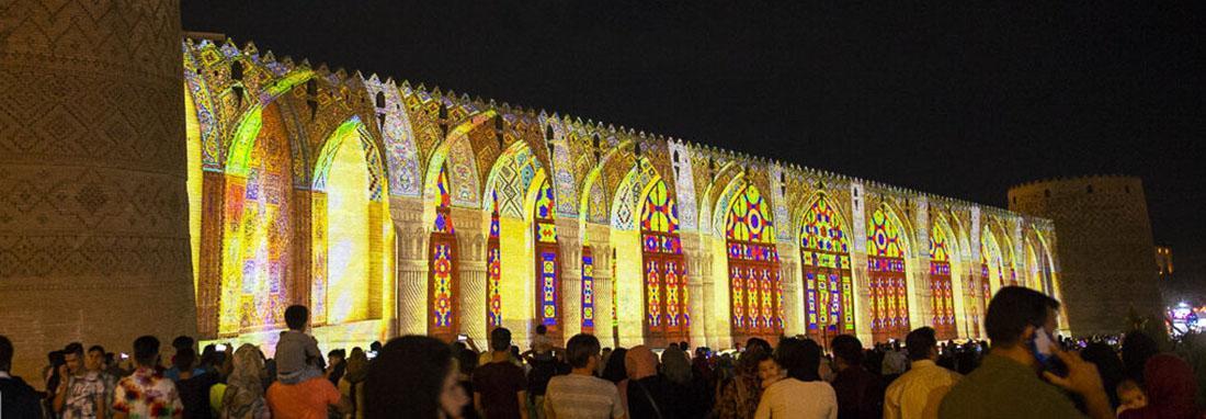 نورپردازی سه بعدی در ارگ کریمخانی شیراز ، مسجد صورتی و تخت جمشید بر دیوارهای ارگ کریمخانی نقش بستند